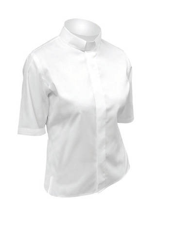 Picture of Lydia Short Sleeve Clergy Blouse with Tab Collar WHITE - 6