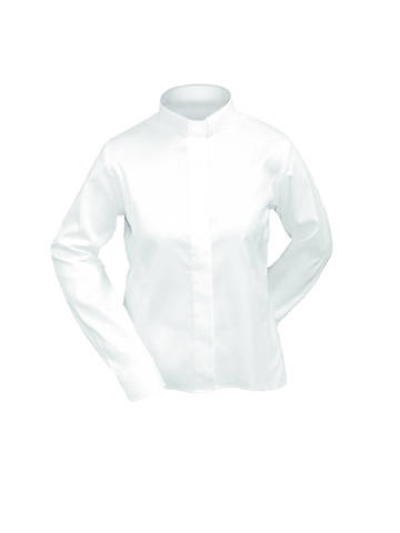 Picture of Lydia Long Sleeve Clergy Blouse with Tab Collar WHITE - 18