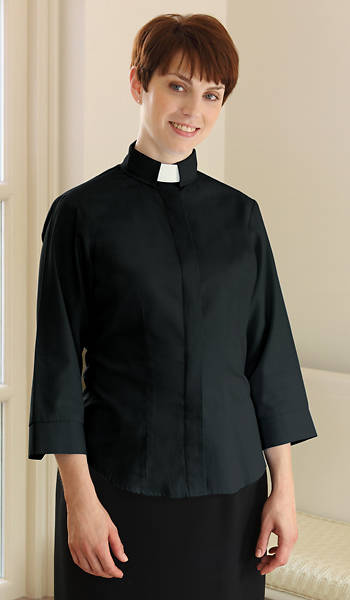 Picture of Three-Quarter Length Sleeve Clergy Blouse with Tab Collar BLACK - 10