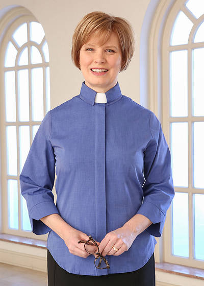 Picture of Three-Quarter Length Sleeve Clergy Blouse with Tab Collar FRENCH BLUE - 10