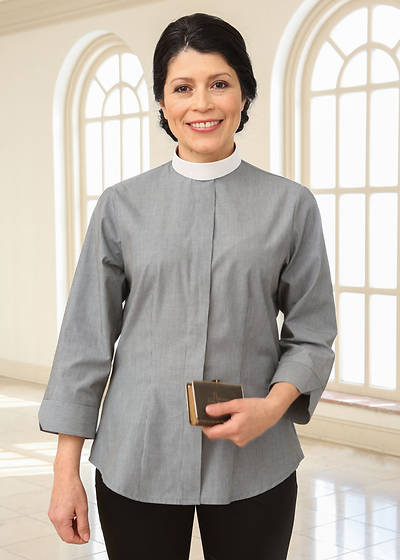 Picture of Three-Quarter Length Sleeve Clergy Blouse with Neckband Collar Caramel - 16