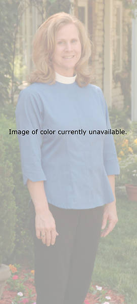 Picture of Three-Quarter Length Sleeve Clergy Blouse with Neckband Collar GREY - 18