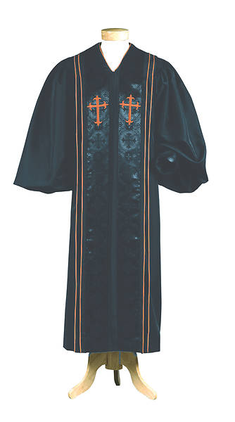 Abbott Hall A518 Men's Pulpit Robe with Black Cross Brocade Panels, Red Crosses and Cording