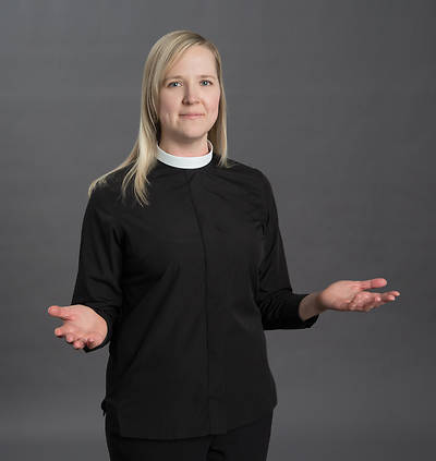 Reliant Long Sleeve Clergy Blouse with Neckband Collar