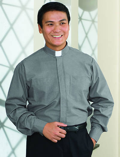 "Signature Long Sleeve Clergy Shirt with Tab Collar Gray - 16"" - 35"" - 36"""
