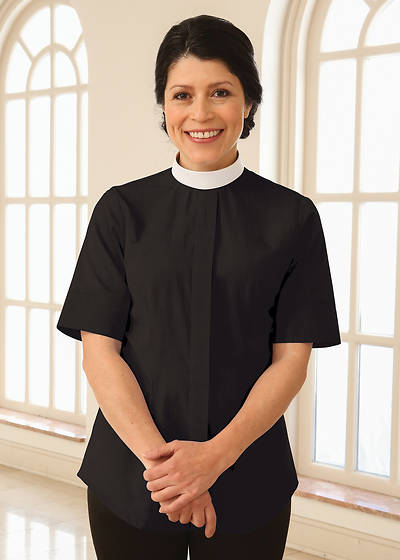 WomenSpirit Short Sleeve Fitted Clergy Blouse