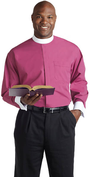 Murphy Men's Long Sleeve Banded Collar Clergy Shirt- Fuchsia with White French Cuffs