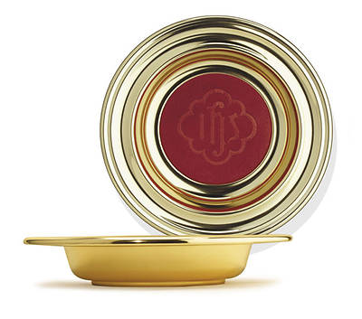 Picture of Artistic Offering Plate with IHS Pad - Large Brasstone - Red
