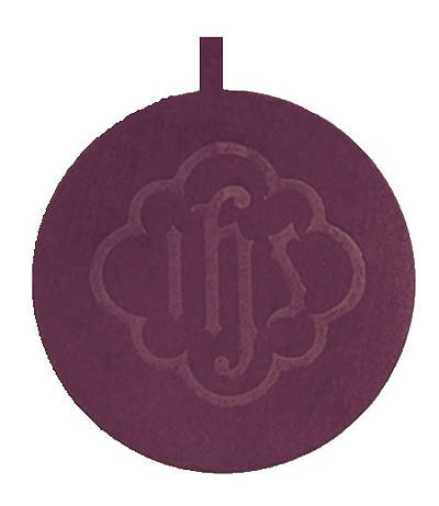 Picture of Artistic Offering Plate with Plain Pad - Large Brasstone - Maroon