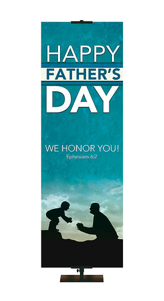 Picture of Happy Father's Day Banner Teal - 2' x 6'