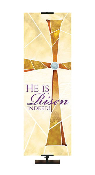 Picture of He Is Risen Indeed Eternal Emblems of Easter Banner- Cream  2' x 6'