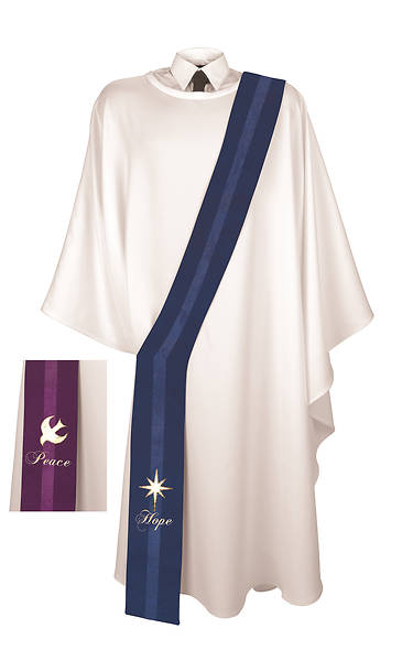 Chrismons Hope/Peace Reversible Advent Deacon Stole