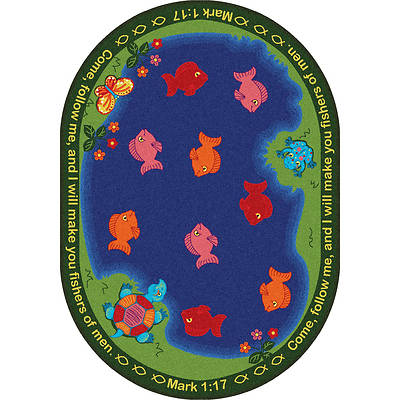 "Picture of Fishers of Men Children's Area Rug Oval 5'4"" x 7'8"""
