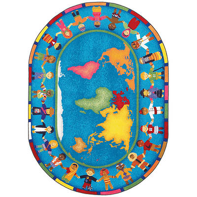 "Picture of Hands Around the World Children's Area Rug Oval 10'9"" x 13'2"""