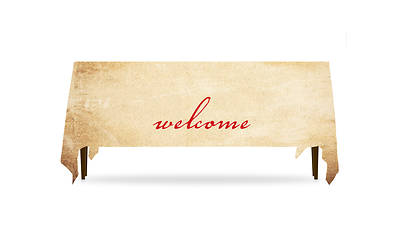 Red Script Welcome Table Throw