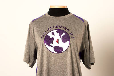 UMC Transforming the World Tee with Cross and Flame Heather Grey/Purple - Small