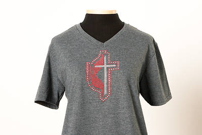 Picture of UMC Triple Rhinestone Border Cross and Flame V-Neck Tee Dark Heather - Large