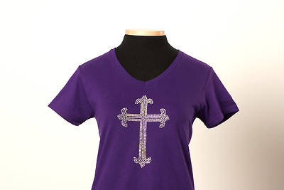 Picture of UMC Elegant Rhinestone Cross V-Neck Tee Purple - Small