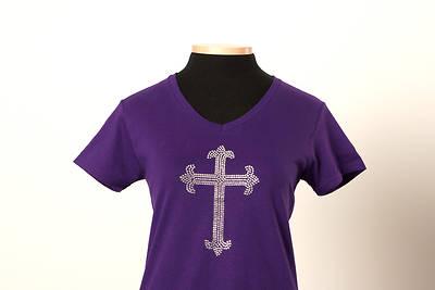 Picture of UMC Elegant Rhinestone Cross V-Neck Tee Purple - Medium