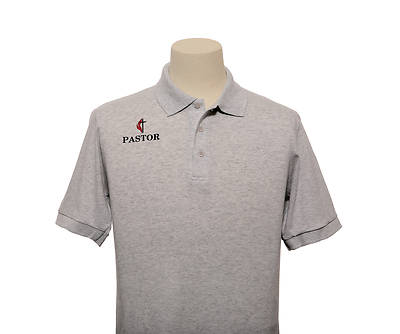 Picture of UMC Pastor Cross and Flame Polo Without Pocket Ash - Small