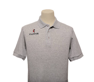 Picture of UMC Pastor Cross and Flame Polo Without Pocket Ash - Medium