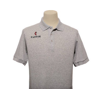 Picture of UMC Pastor Cross and Flame Polo Without Pocket Ash - Large