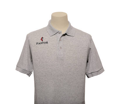 Picture of UMC Pastor Cross and Flame Polo Without Pocket Ash - 2XL