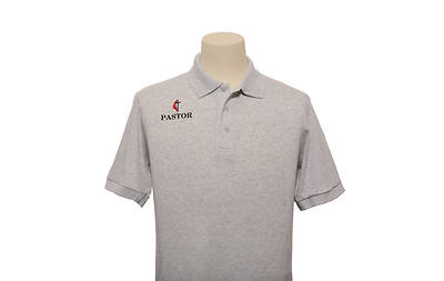 UMC Pastor Cross and Flame Polo Without Pocket-Ash