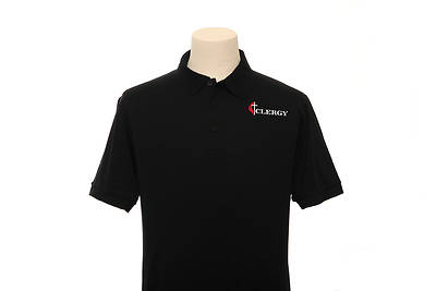Picture of UMC Clergy Cross and Flame Polo With Pocket Black - Large