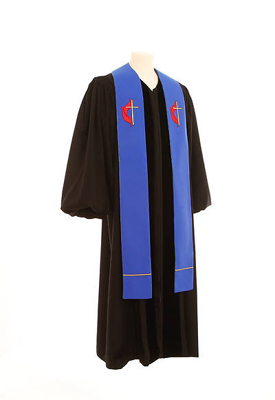 United Methodist Cross and Flame Wide Stole - Blue - 100""