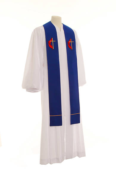 United Methodist Cross and Flame Wide Stole - Blue - 110""