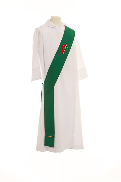 """Picture of United Methodist Cross and Flame Deacon Stole Green - 54"""""""