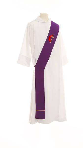 United Methodist Cross and Flame Deacon Stole Purple - 54""