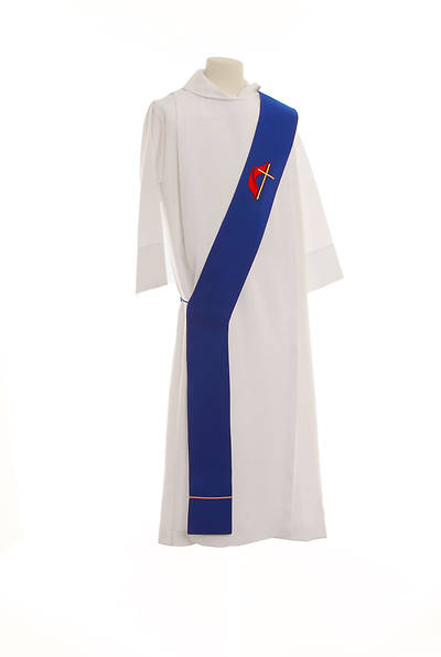 United Methodist Cross and Flame Deacon Stole Blue - 54""