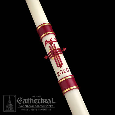 "Picture of Cathedral Crux Trinitas Sculptwax Paschal Candle 3"" - 48"""