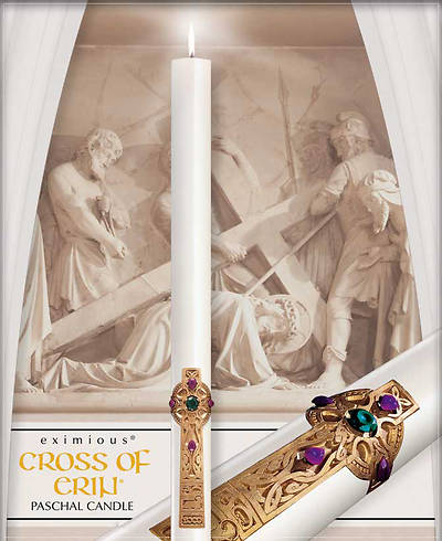 "Picture of Cathedral Eximious Cross of Erin 51% Beeswax Paschal Candle 3"" - 48"""