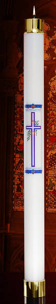 "Picture of Lux Mundi Liquid Wax Easter Cross Paschal Candle Shell  - 2-5/8"" x 24"""