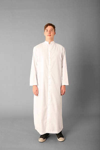 Picture of Abbey Brand Style 215 Button Front Acolyte Cassock White - 15