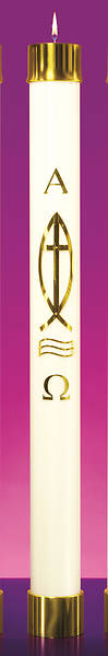 "Picture of Lux Mundi Liquid Wax Ichthys Cross Paschal Candle Shell - 3-1/2"" x 30"""