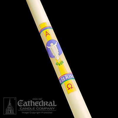 "Picture of Cathedral He is Risen Paschal Candle 2-1/2"" - 60"""
