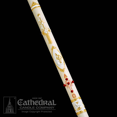 """Picture of Cathedral Ornamented Paschal Candle 2-1/2"""" - 60"""""""