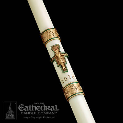 """Picture of Cathedral Cross of St. Francis Paschal Candle 2-1/16"""" - 42"""""""