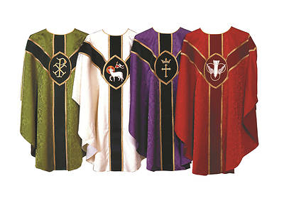 Picture of Abbott Hall Tudor Rose Bemberg Chasuble with Symbols