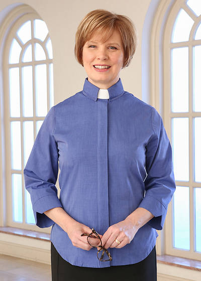 Picture of WomenSpirit 3/4 Sleeve Fitted Tab Collar Clergy Blouse