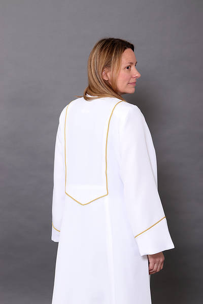 Picture of Abbott Hall White Celeste 5 Women's Speedship Pulpit Robe with Gold Cording - WX6