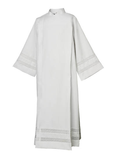 Picture of Abbey Brand Style 435/I Herringbone Weave Front Wrap Alb with Lace Inserts