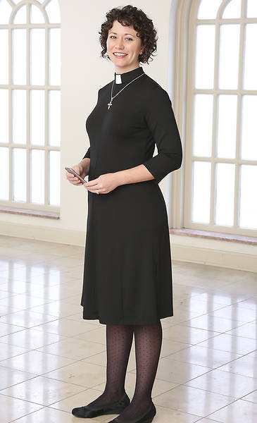 WomenSpirit Tab Collar Seamed Dress