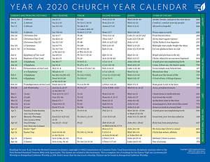 2022 Lectionary Calendar.Church Year Calendar 2020 Year A Cokesbury
