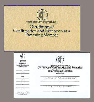 The United Methodist Church Certificates Of Confirmation And Reception As A Professing Member Pad Of 26